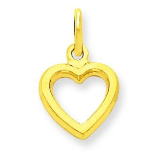14K Yellow Gold Heart Charm Polished Love Pendant Clasp Style Charms Jewelry