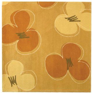 Safavieh Soho Collection Soh302a Handmade New Zealand Wool Square Area Rug, 6 Feet Square, Gold