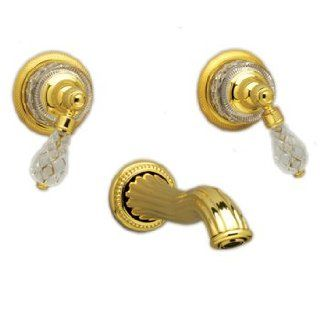 Phylrich WL181025 025 Polished Gold Bathroom Faucets Wall Mount Lav Set W/Crystal Handles   Touch On Bathroom Sink Faucets