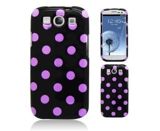 Aimo SAMI9300PCPD305 Cute Polka Dot Hard Snap On Protective Case for Samsung Galaxy S3 i9300   Retail Packaging   Black/Purple Cell Phones & Accessories