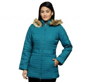 Isaac Mizrahi Live Quilted Coat w/ Faux Fur Trimmed Hood —