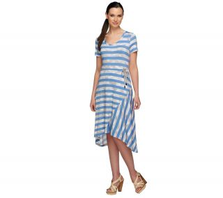 LOGO by Lori Goldstein Petite Striped Dress with Drawstring —