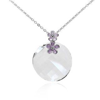 Twist Round Crystal Disc Pendant set with Swarovski crystal in Rhodium Plating Jewelry