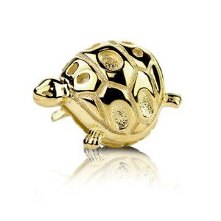 18k Gold Overlaid Sterling Silver Lucky Turtle Charm Bead, Fits Jovana and All Brands Charm Bracelets. Jewelry