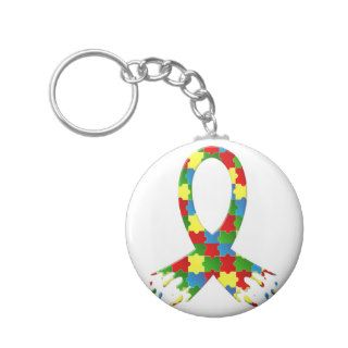 AUTISM AWARENESS PUZZLE RIBBON KEYCHAINS