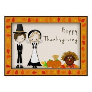 Cute Cartoon Pilgrims Happy Thanksgiving Poster