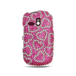 Hot Pink Silver Heart Bling Gem Jeweled Crystal Cover Case for Samsung Freeform SCH R350 SCH R351 Cell Phones & Accessories