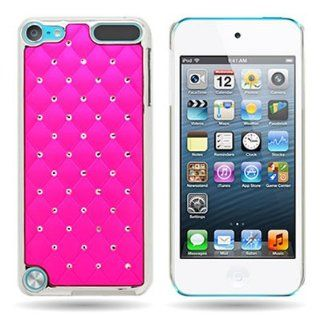 CoverON� HOT PINK Back with Spot DIAMOND and SILVER METAL CHROME Hard TRIM Cover Case For APPLE IPOD TOUCH 5 [WCK347] Cell Phones & Accessories
