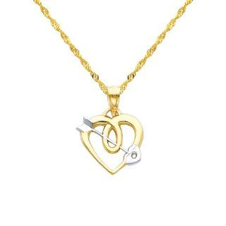"14K Yellow and Rose 2 Two Tone Gold Cupid Arrow Heart Charm Pendant with Yellow Gold 1.2mm Singapore Chain with Spring Ring Clasp   20"" Inches   Pendant Necklace Combination Jewelry"