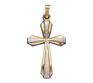 14K Gold Two tone Cross Pendant —