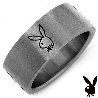 Playboy Ring Size 9 Stainless Steel Wide Band Bunny Bunnies Logo Unisex Mens Womens Ladies Teens GIFT BOX Icon Classic Rabbit Head Design Genuine Authentic Licensed Playboy Jewelry CPBRmen 9 Playboy Jewelry