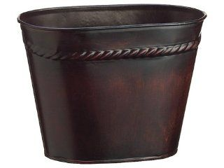 "5.5""Hx4.25""Wx7.5""L Embossed Tin Vase w/Liner Brown (Pack of 12)   Hurricane Candle Holders"