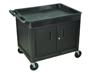 Offex Black Mobile Large Top Tub And Flat Bottom Shelf Utility Cart With Locking Storage Cabinet, Push Handle And 4 Heavy Duty Casters