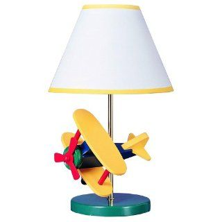 Cal Lighting BO 372 Kids Novelty Lamp with Yellow and White Fabric Shades, Multi Color Airplane in Chrome Finish   Table Lamps