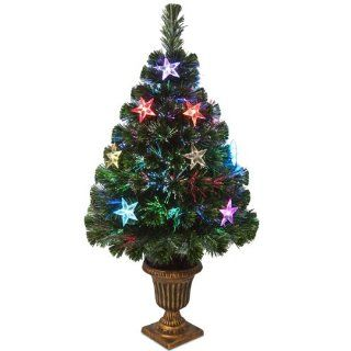"National Tree SZEX7 133 36 Fiber Optic ""Evergreen"" Firework Tree with Multi LED Stars in Plastic Urn UL, 36 Inch   Christmas Trees"