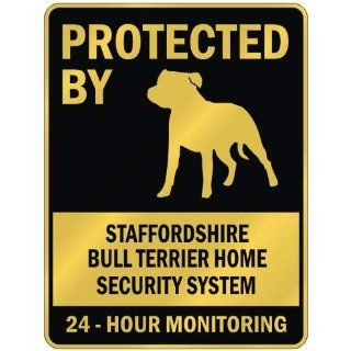 "PROTECTED BY "" STAFFORDSHIRE BULL TERRIER HOME SECURITY SYSTEM "" PARKING SIGN DOG"