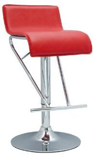 NoPart 6122 AS RED Chintaly Imports Pneumatic Gas Lift Adjustable Height Swivel Stool, Chrome/Re  Barstools