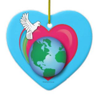 Earth, Heart, and Dove Christmas Ornament
