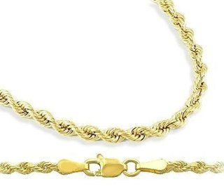 Mens Womens 14k Yellow Gold Chain Hollow Rope Necklace 2mm, 24 inch Jewelry
