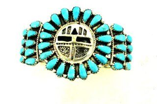 By Navajo Artist Larry Moses Begay Beautiful Sterling silver Turquoise Neddle Point Women's Bracelet Jewelry