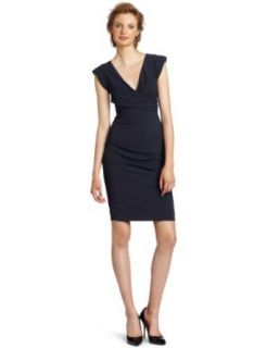Nicole Miller Women's V Neck Cap Sleeve Dress, Smoke, 2