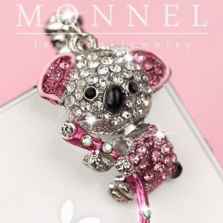Ip394 Cute Pink Crystal Koala Bear Dust Phone Plug Charm For iPhone 3.5 mm Smart Phone Cell Phones & Accessories