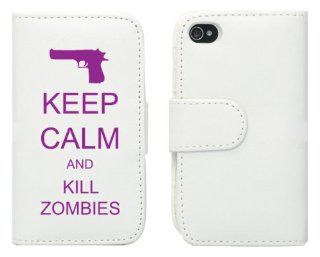White Apple iPhone 5 5S 5LP389 Leather Wallet Case Cover Purple Keep Calm and Kill Zombies Gun Cell Phones & Accessories
