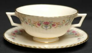 Lenox China Cinderella (Older, Gold Trim) Footed Cream Soup Bowl & Saucer Set, F