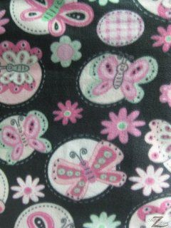 "BUTTERFLY PRINT POLAR FLEECE FABRIC  Black/Baby Pink Butterfly   60"" WIDTH SOLD BTY ANTI PILL (580)"