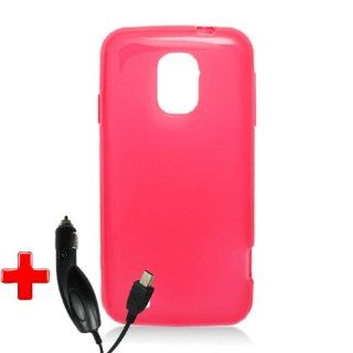 ZTE Majesty Z796c (StraightTalk) One Piece TPU Rubber Fitted Body Mold Case Cover, Red + CAR CHARGER Cell Phones & Accessories