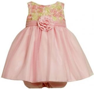 Size 24M BNJ 9473R 2 Piece PINK YELLOW BONAZ ROSETTE MESH OVERLAY Special Occasion Flower Girl Easter Party Dress, R19473 Bonnie Jean BABY/INFANT Infant And Toddler Dresses Clothing