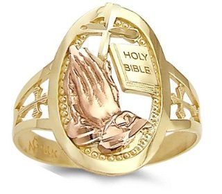 Holy Bible Praying Hands Ring 14k Yellow Gold Religious Band Right Hand Rings Jewelry