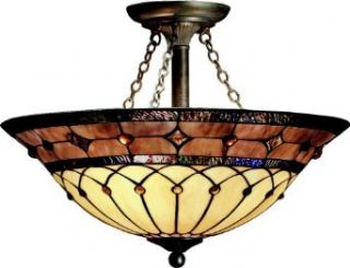 Kichler Lighting 69048 3 Light Dunsmuir Art Glass Semi Flush Ceiling Light, Art Nouveau Bronze Finish   Semi Flush Mount Ceiling Light Fixtures
