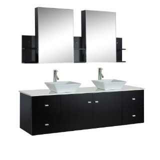 Virtu USA MD 409 S ES Clarissa 72 Inch Wall Mounted Double Sink Bathroom Vanity Set with Mirrored Cabinets, Espresso Finish   Bathroom Sink Faucets