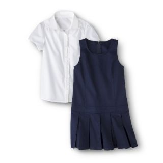 Cherokee Girls School Uniform Short Sleeve Blouse and Jumper Set   Navy 10
