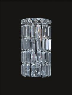 "Ibiza Design 2 Light 12"" Chrome Wall Sconce Bathroom Vanity Light Fixture with European or Swarovski Crystal SKU# 10305"