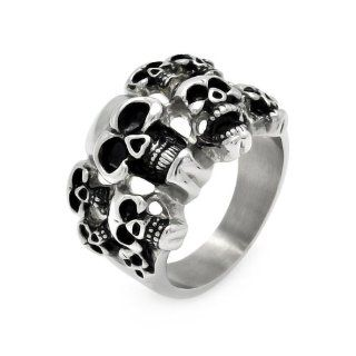 Stainless Steel 18.5mm High Polish Oxidized Multiple Skull Heads Design Fashion Ring for Men (Size 9 to 13) Jewelry