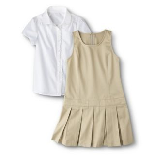 Cherokee Girls School Uniform Short Sleeve Blouse and Jumper Set   Khaki 6X