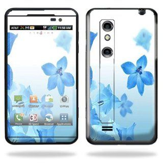 Protective Vinyl Skin Decal Cover for LG Thrill 4G Cell Phone Sticker Skins Blue Flowers Cell Phones & Accessories