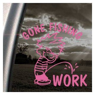 Funny Gone Fishing Pink Decal Car Truck Window Pink Sticker   Themed Classroom Displays And Decoration