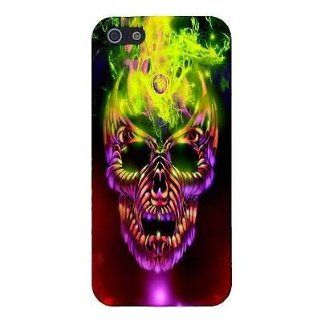 Flaming Fire Skull Halloween CUSTOM Snap On Cover Case Skin for iPhone 5 / 5S Cell Phones & Accessories