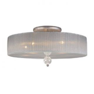 Elk Lighting 20006 5 Alexis 5 Light Contemporary Semi Flush Mount Ceiling Lighting Fixture, Antique Silver, Crackled Glass Spheres with Sheer Silver Fabric, B11833   Close To Ceiling Light Fixtures