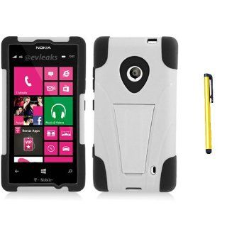Hard Plastic Snap on Cover Fits Nokia 521 Lumia Hybrid Case Y Black White Stand + A Gold Color Stylus/Pen T Mobile Cell Phones & Accessories