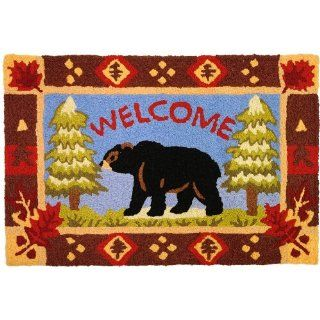 Jellybean Bear & Pine Trees Indoor Outdoor Accent Rug  Doormats  Patio, Lawn & Garden