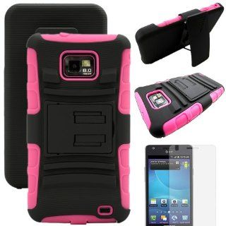 MINITURTLE, Rugged Hybrid Dual Layer Armor Phone Case Cover with Built in Kickstand, Swiveling Holster Belt Clip, and Clear Screen Protector Film for Android Smartphone Samsung Galaxy S2 II Attain SGH I777 AT&T / Prepaid Straight Talk SGH S959G (Black