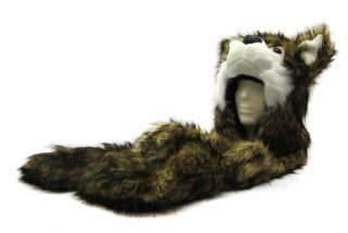 Faux Fur Animal Hood with Pocket Hat Scarf Mitten Gold Wolf Sports & Outdoors