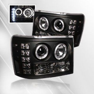 GMC Sierra 1500/2500/3500 07 08 09, GMC Sierra Denali 08 09 Projector Headlights /w Halo/Angel Eyes ~ pair set (Black) Automotive