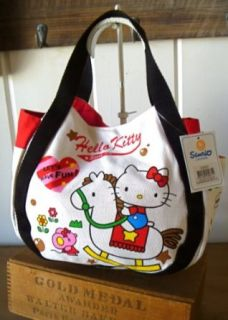 Hello Kitty Small Canvas Tote Bag with Side Pockets  Rocking Horse Clothing
