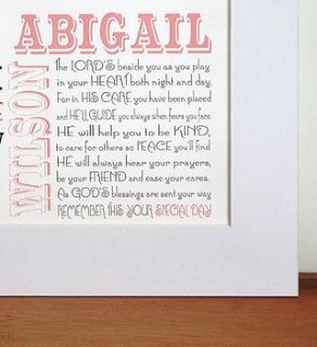 personalised holy communion print by a touch of verse