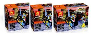 3 x KNIGHTS   BUILDING BLOCKS total 36 pcs (12 pcs/box) set Compatible with Lego parts, Best Toy, Great Gift Toys & Games